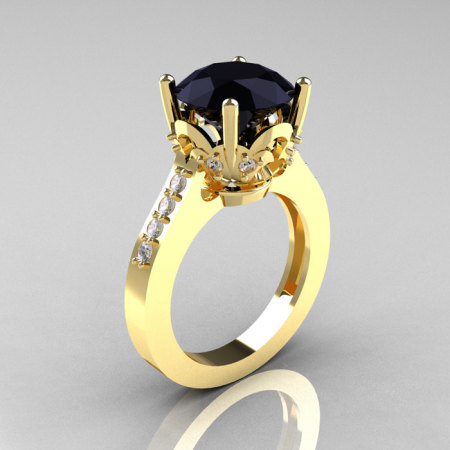 Classic 14K Yellow Gold 3.0 Carat Black Diamond Solitaire Wedding Ring R301-14KYGDBD-1