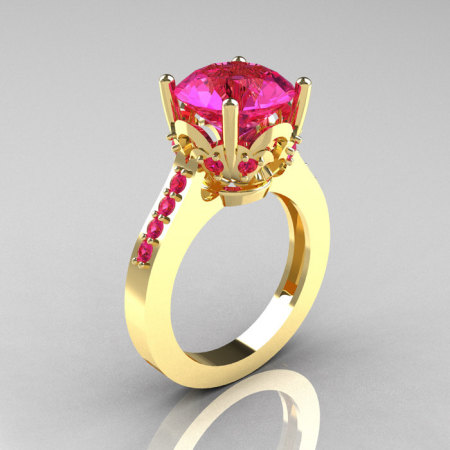 Classic 14K Yellow Gold 3.0 Carat Pink Sapphire Solitaire Wedding Ring R301-14KYGDPS-1