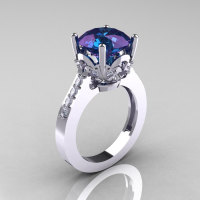 Classic 14K White Gold 3.0 Carat Russian Chrysoberyl Alexandrite Diamond Solitaire Wedding Ring R301-14KWGDAL-1
