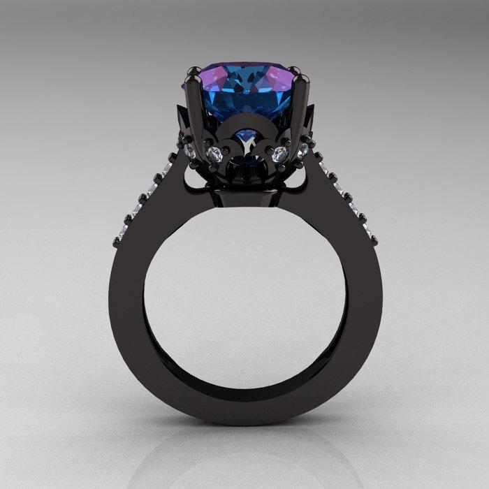 Classic 14K Black Gold 3 0 Carat Russian Chrysoberyl Alexandrite Diamond Soli