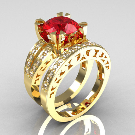 Modern Vintage 14K Yellow Gold 3.0 Carat Ruby Diamond Solitaire Ring and Wedding Band Bridal Set R102S-14KYGDR-1