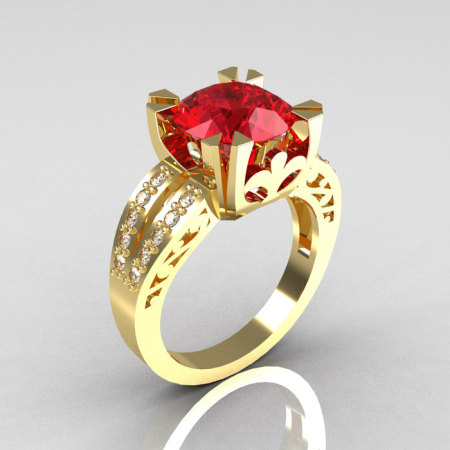 Modern Vintage 14K Yellow Gold 3.0 Carat Ruby Diamond Solitaire Ring R102-14KYGDR-1
