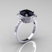 Classic 14K White Gold 2.5 Carat Oval Black Diamond Accent White Diamond Ring R72M-WGDBD-1