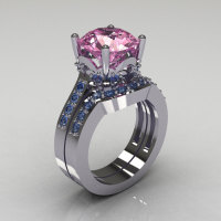 Classic 14K White Gold 3.5 Carat Light Pink Sapphire Topaz Solitaire Wedding Ring Set R301S-14KWGLPSBT-1