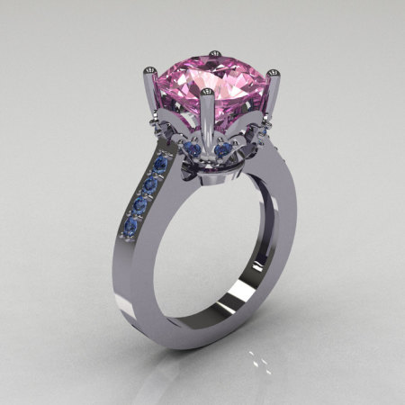 Classic 14K White Gold 3.5 Carat Light Pink Sapphire Topaz Solitaire Wedding Ring R301-14KWGLPSBT-1