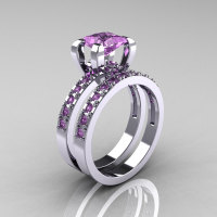 Classic French 14K White Gold 1.0 Carat Princess Lilac Amethyst Engagement and Weding Ring Bridal Set AR125S-14WGLAA-1