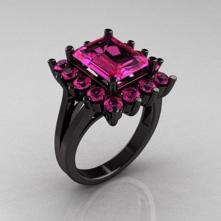 Modern Victorian 14K Black Gold 4.0 Carat Pink Sapphire Engagement Ring R217-14KBGPS-1