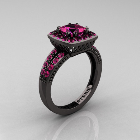 Classic 14K Black Gold 1.23 Carat Princess Pink Sapphire Solitaire Engagement Ring R220P-14KBGPS-1