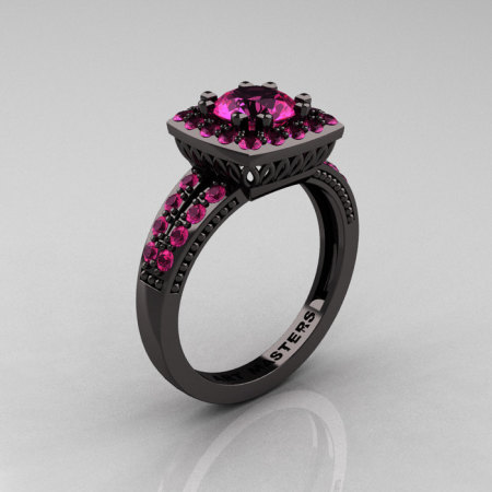 Classic 14K Black Gold 1.0 Carat Pink Sapphire Solitaire Engagement Ring R220-14KBGPS-1