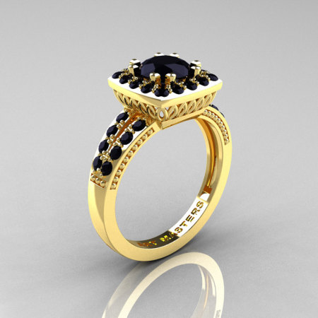 Classic 14K Yellow Gold 1.0 Carat Black Diamond Solitaire Engagement Ring R220-14KYGBD-1