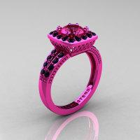 Classic 14K Pink Gold 1.0 Carat Pink Sapphire Black Diamond Solitaire Engagement Ring R220-14KPGBDPS-1