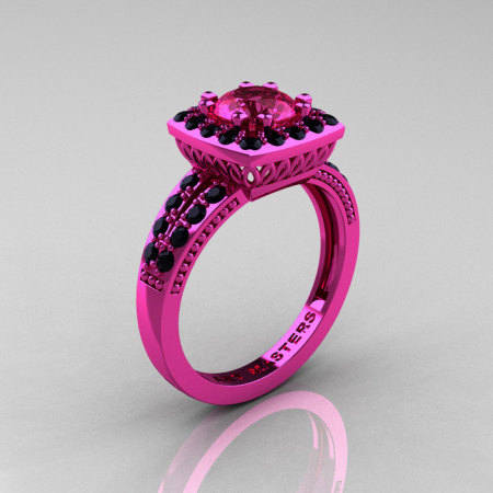Classic 14K Pink Gold 1.0 Carat Pink Sapphire Black Diamond Solitaire Engagement Ring R220-14KPGBDPS-1