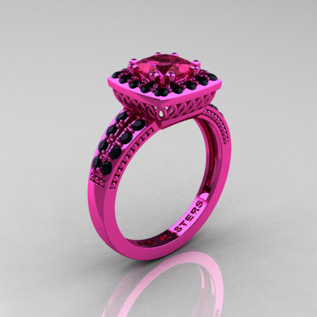 Classic 14K Pink Gold 1.23 Carat Princess Pink Sapphire Black Diamond Solitaire Engagement Ring R220P-14KPGBDPS-1