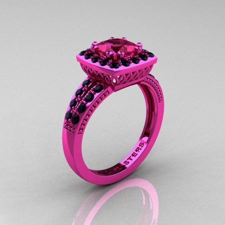 Classic 14K Pink Gold 1.23 Carat Princess Pink Sapphire Black Diamond Solitaire Engagement Ring R220P-14KPGBDPS-1