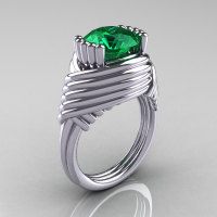 Modern Antique 14K White Gold 3.0 Carat Emerald Wedding Ring R211-14KWGEM-1
