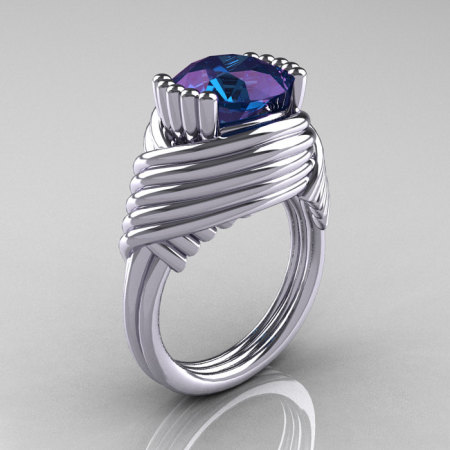 Modern Antique 14K White Gold 3.0 Carat Alexandrite Wedding Ring R211-14KWGAL-1