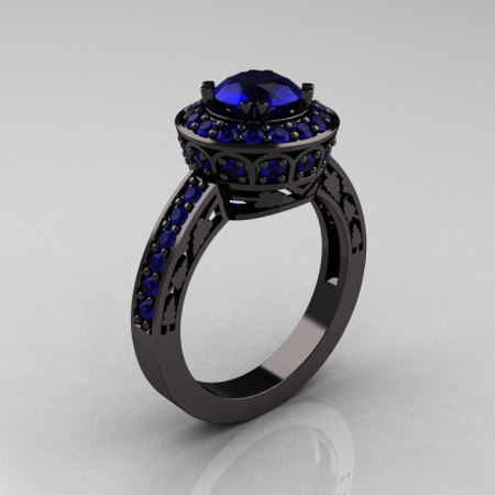 14K Black Gold 1.0 Carat Blue Sapphire Wedding Ring Engagement Ring R199-14KBGBS-1