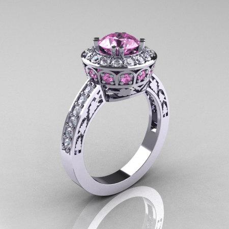 14K White Gold 1.0 Carat Light Pink Sapphire Diamond Wedding Ring Engagement Ring R199-14KWGDLPS-1