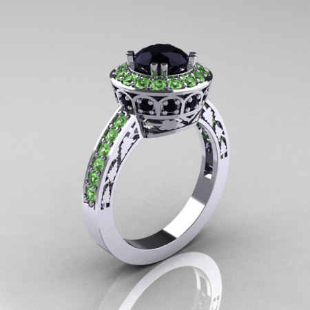 14K White Gold 1.0 Carat Black Diamond Green Topaz Wedding Ring Engagement Ring R199-14KWGGTBD-1