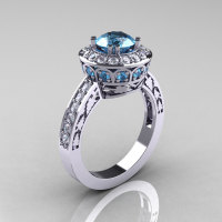 14K White Gold 1.0 Carat Aquamarine Diamond Wedding Ring Engagement Ring R199-14KWGDAQ-1