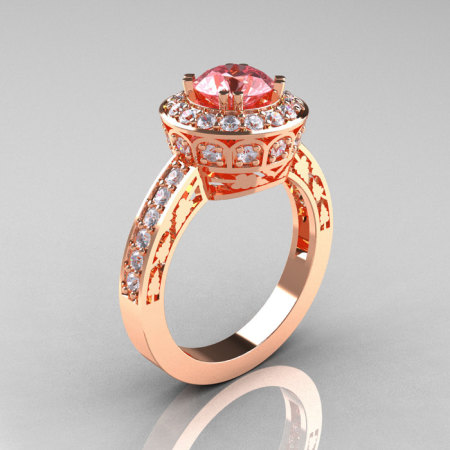 14K Rose Gold 1.0 Carat Morganite Diamond Wedding Ring Engagement Ring R199-14KRGDMO-1