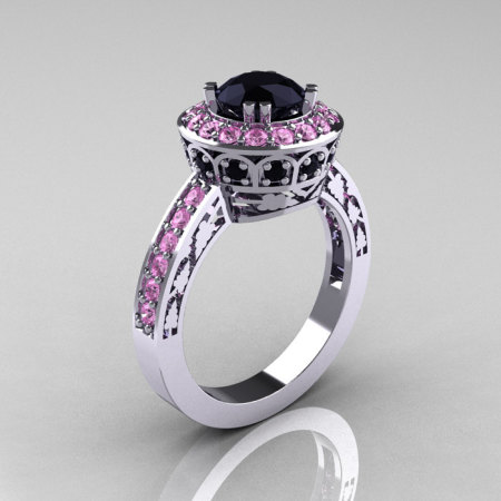 Classic 14K White Gold 1.0 Carat Black Diamond Light Pink Sapphire Wedding Ring Engagement Ring R199-14KWGLPSBD-1