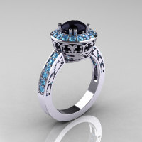 Classic 14K White Gold 1.0 Carat Black Diamond Blue Topaz Wedding Ring Engagement Ring R199-14KWGBTBD-1