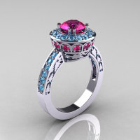 Classic 14K White Gold 1.0 Carat Pink Sapphire Blue Topaz Wedding Ring Engagement Ring R199-14KWGBTPS-1