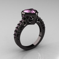 Classic 14K Black Gold 2.0 Carat Heart Light Pink Sapphire Bridal Ring R314-14KRGLPS-1