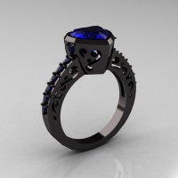 Classic 14K Black Gold 2.0 Carat Heart Blue Sapphire Bridal Ring R314-14KRGBS-1