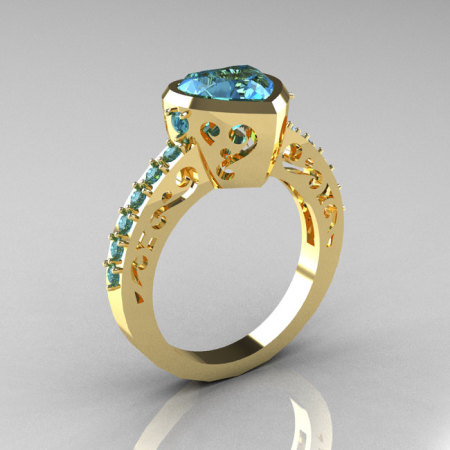 Classic 14K Yellow Gold 2.0 Carat Heart Blue Topaz Bridal Ring R314-14KYGBT-1