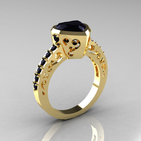 Classic 14K Yellow Gold 2.0 Carat Heart Black Diamond Bridal Ring R314-14KYGBD-1