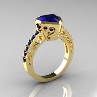 Classic 14K Yellow Gold 2.0 Carat Heart Blue Sapphire Bridal Ring R314-14KYGBS-1