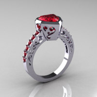 Classic 14K White Gold 2.0 Carat Heart Rubies Bridal Ring R314-14KWGR-1