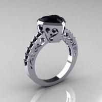 Classic 14K White Gold 2.0 Carat Heart Black Diamond Bridal Ring R314-14KWGBD-1