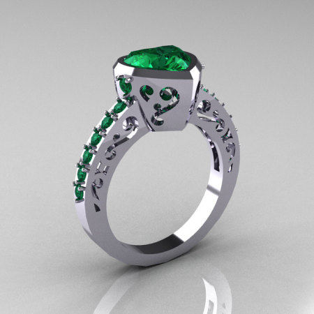 Classic 10K White Gold 2.0 Carat Heart Emerald Bridal Ring R314-10KWGEM-1