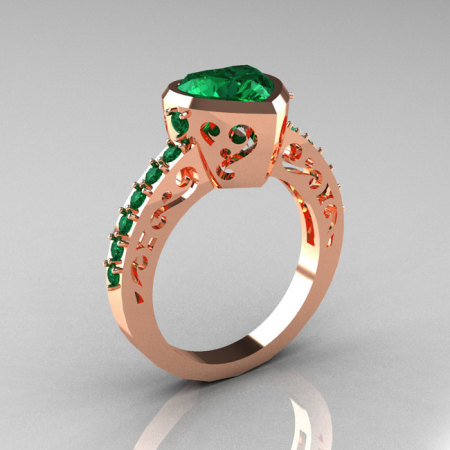 Classic 10K Rose Gold 2.0 Carat Heart Emerald Bridal Ring R314-10KRGEM-1