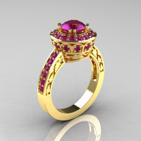 Classic 14K Yellow Gold 1.0 Carat Amethyst Wedding Ring Engagement Ring R199-14KYGAM-1