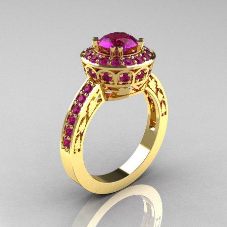 Classic 14K Yellow Gold 1.0 Carat Amethyst Wedding Ring Engagement Ring R199-14KYGAM-1