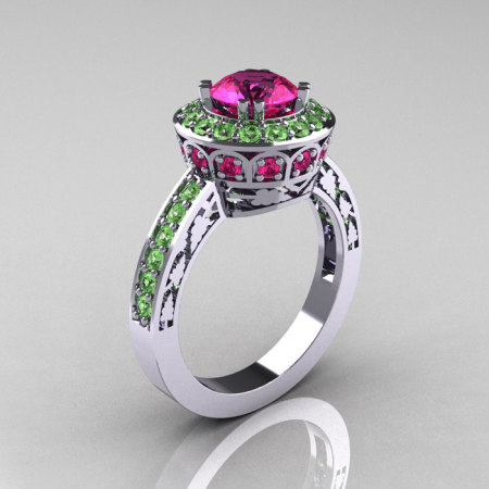 Classic 14K White Gold 1.0 Carat Pink Sapphire Green Topaz Wedding Ring Engagement Ring R199-14KWGGTPS-1