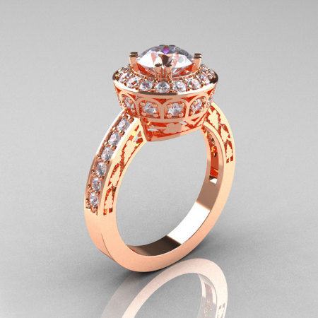 14K Rose Gold 1.0 Carat Cubic Zirconia Diamond Wedding Ring Engagement Ring R199-14KRGDCZ-1