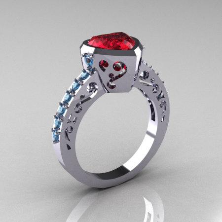 Classic 14K White Gold 2.0 Carat Heart Rubies Blue Topaz Bridal Ring R314-14KWGBTR-1