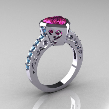Classic 14K White Gold 2.0 Carat Heart Pink Sapphire Blue Topaz Bridal Ring R314-14KWGBTPS-1