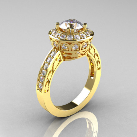 14K Yellow Gold 1.0 Carat Cubic Zirconia Diamond Wedding Ring Engagement Ring R199-14KYGDCZ-1