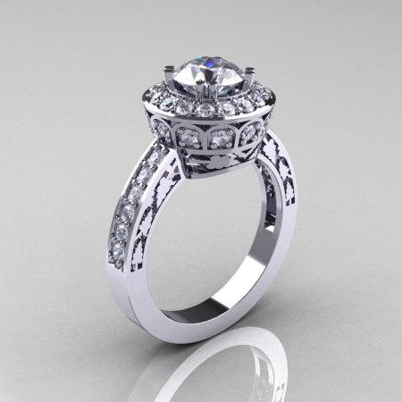 Classic 950 Platinum 1.0 Carat Russian Cubic Zirconia Diamond Wedding Ring Engagement Ring R199-PLATDCZ-1