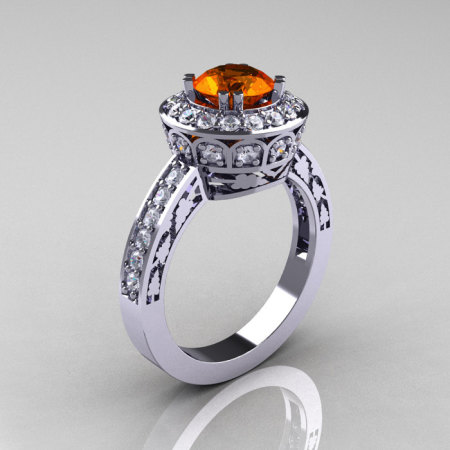 Classic 14K White Gold 1.0 Carat Orange Sapphire Diamond Wedding Ring Engagement Ring R199-14KWGDOS-1