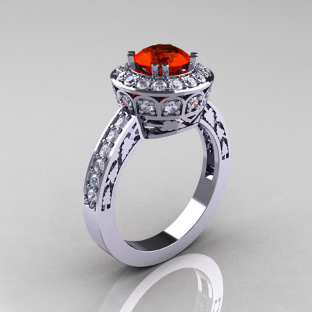 Classic 14K White Gold 1.0 Carat Padparadscha Diamond Wedding Ring Engagement Ring R199-14KWGDPA-1