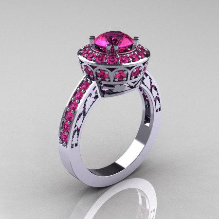 10K White Gold 1.0 Carat Pink Sapphire Wedding Ring Engagement Ring R199-10KWGPS-1