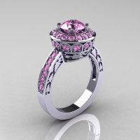 10K White Gold 1.0 Carat Light Pink Sapphire Wedding Ring Engagement Ring R199-10KWGLPS-1