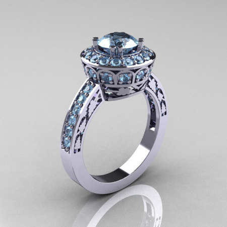 10K White Gold 1.0 Carat Aquamarine Wedding Ring Engagement Ring R199-10KWGAQ-1